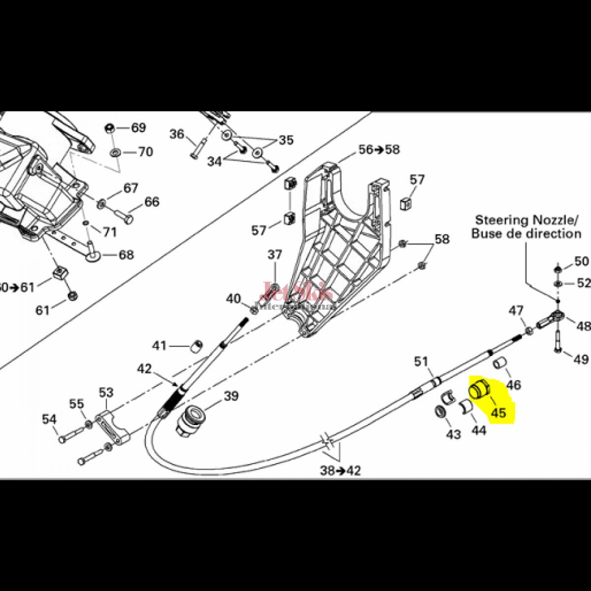seadoo part  steering cable lock jet skis international