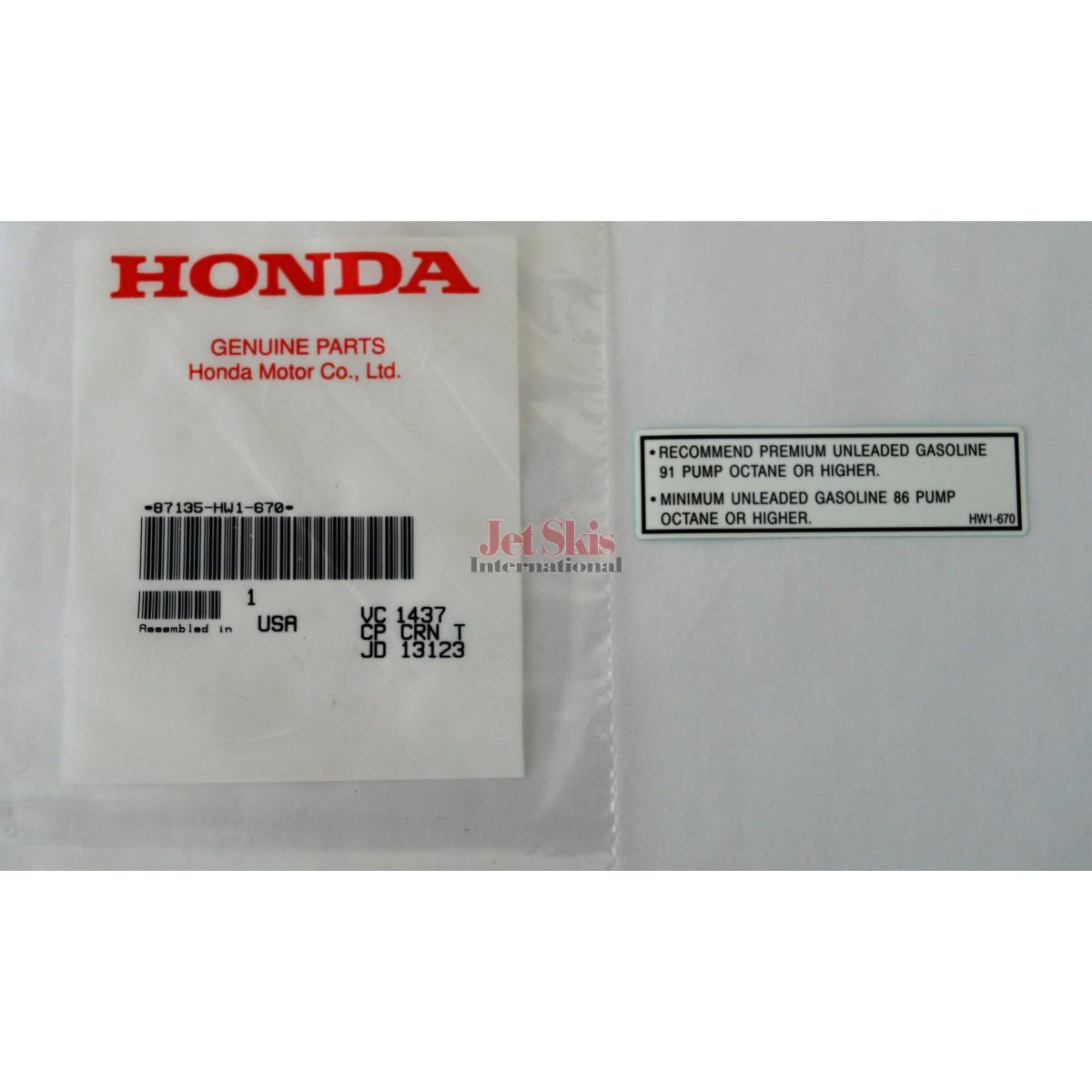 Honda Aquatrax Part 87135 Hw1 670 Fuel Caution Label