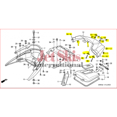 Honda Aquatrax Part# 77371-HW3-670ZA Rear Cover R12 / R12X | Jet Skis International